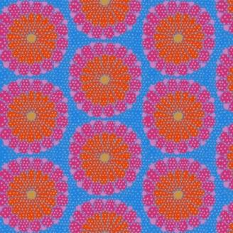 Tissu patchwork Kaffe Fassett grandes fleurs Kyoto roses fond bleu