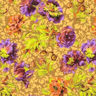 Tissu Philip Jacobs - Grandes fleurs Baroque Floral fond marron glacé PJ090