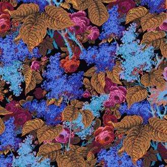 Tissu Philip Jacobs roses et lilas fond noir PJ068