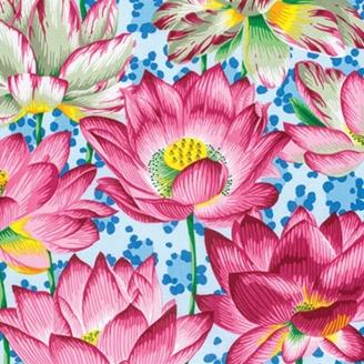 Tissu Philip Jacobs Leopard Lotus roses fond bleu PJ081