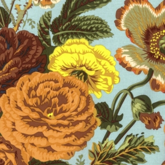 Tissu Philip Jacobs fleurs Summer Bouquet fond bleu ciel PJ086