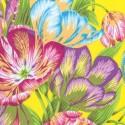 Tissu Philip Jacobs fleurs Tulip Extravaganza fond jaune PJ089