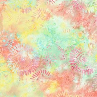 Tissu Batik rosaces fond vert orange clair