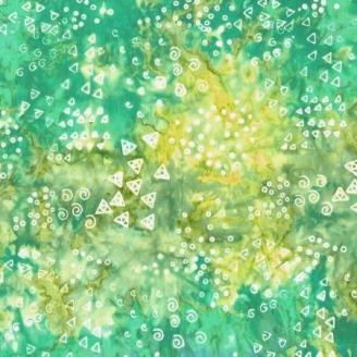 Tissu batik Laurel Burch tourbillons et triangles fond vert