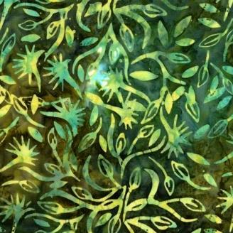 Tissu Batik feuilles turquoise fond vert bouteille