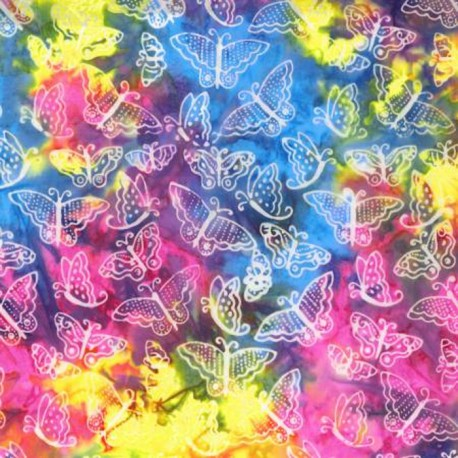 Tissu batik Laurel Burch papillons fond multicolore