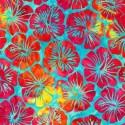 Tissu Batik hibiscus fuchsia fond turquoise