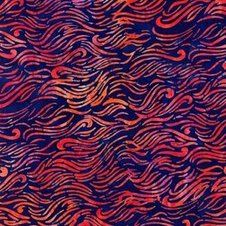 Tissu Batik ondulations rouges fond indigo