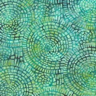 Tissu Batik vert effet mosaïque
