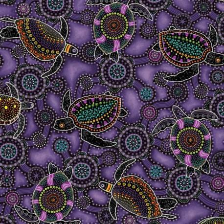 Tissu aborigène tortues marines fond violet