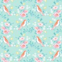 Tissu patchwork oiseaux oranges fond turquoise - Darling Meadow