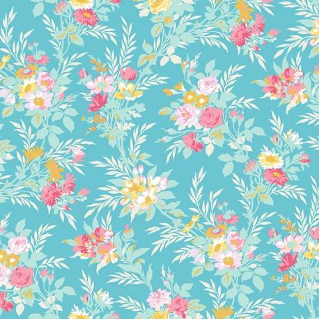 Tissu patchwork bouquets de roses fond bleu canard - Darling Meadow