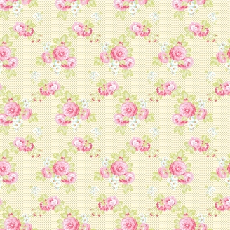 Tissu patchwork roses et minis pois fond écru - Darling Meadow