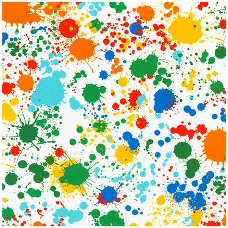 Tissu patchwork grande largeur tâches d'encre multicolores (10 x 270 cm)