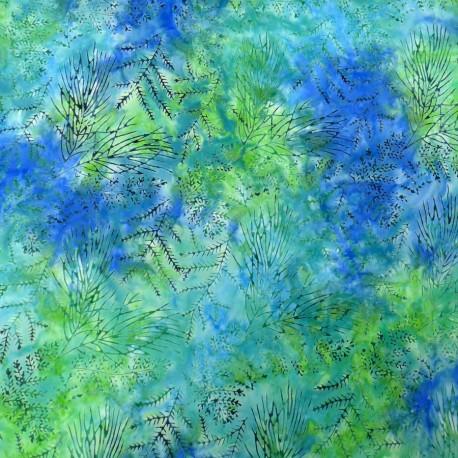 Tissu Batik grandes branches fond vert bleu