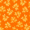 Tissu patchwork fleurs ton sur ton orange
