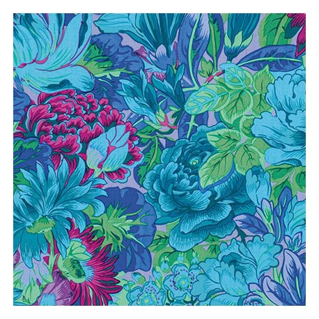 Tissu Philip Jacobs grandes fleurs Lavinia bleues PJ064