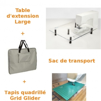 Pack Table à quilter Large 45 x 60 cm + Sac + Grid Glider - Sew Steady