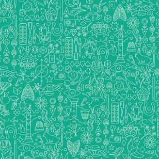 Tissu patchwork collection de motifs fond menthe à l'eau - Sunprints d'Alison Glass