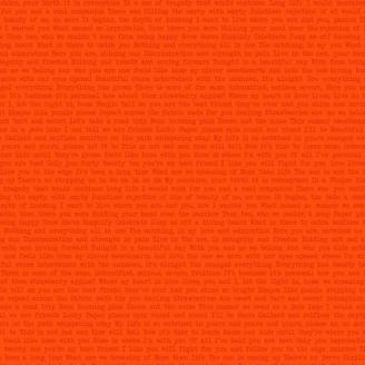 Tissu patchwork écritures fond orange Path Love - Sunprints d'Alison Glass