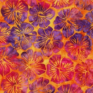 Tissu Batik hibiscus fuchsia fond orange