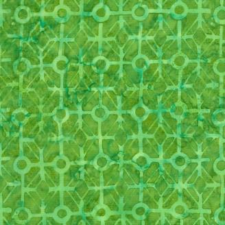 Tissu Batik motif géométrique vert ton sur ton