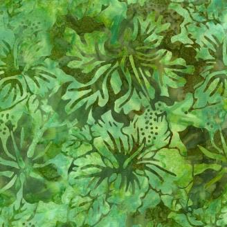 Tissu Batik grandes fleurs d'hibiscus vertes