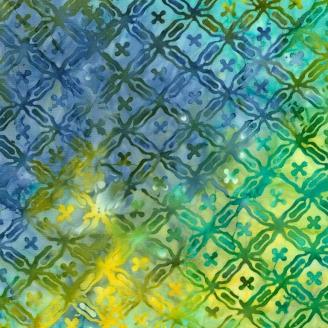 Tissu Batik carreaux fantaisie bleu vert