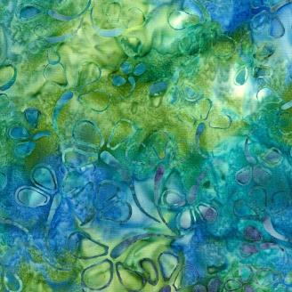 Tissu Batik fleur fond bleu vert