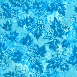 Tissu Batik feuilles de chêne bleues