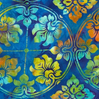 Tissu Batik couronne de fleurs fond bleu