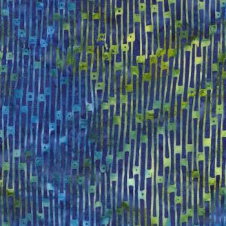 Tissu Batik stries bleu-vert fond bleu saphir
