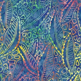 Tissu Batik octopus multico fond bleu