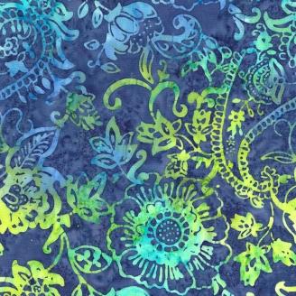 Tissu Batik fleurs cachemire vert fond bleu