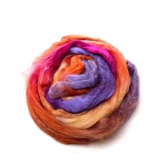 Soie Tussah teinte en ocre fuchsia et violet