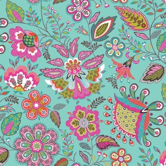Tissu patchwork fleurs indiennes fond turquoise - Monsoon