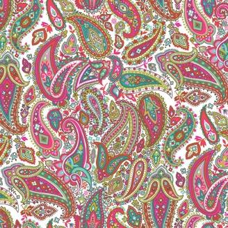 Tissu patchwork cachemire rose et turquoise fond écru - Monsoon