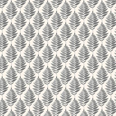 Tissu patchwork fougères grises fond écru - Fern Garden