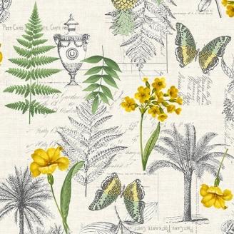 Tissu patchwork herbiers fond écru - Fern Garden
