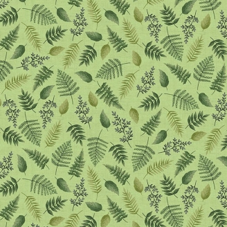 Tissu patchwork feuilles d'arbres en pagaille fond vert - Fern Garden