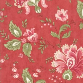 Tissu patchwork classique fleurs jacobéennes fond rouge - Porcelain de 3 Sisters