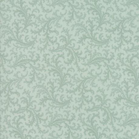 Tissu patchwork classique fougère fond bleu brume - Porcelain de 3 Sisters