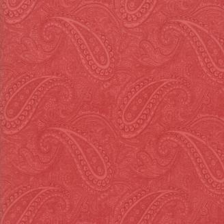 Tissu patchwork classique cachemire fond rouge - Porcelain de 3 Sisters