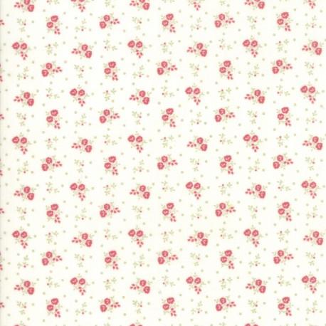 Tissu patchwork classique mini fleurs rouges fond écru - Porcelain de 3 Sisters