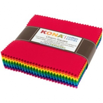 Grand charm pack de tissus unis Kona - Bright colorstory