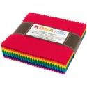 Grand charm pack de tissus unis Kona - Bright colorstory