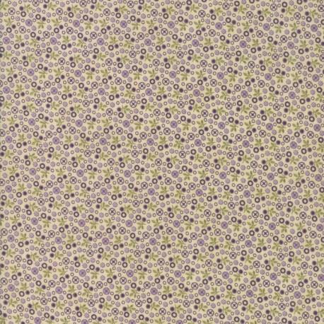 Tissu patchwork fleurettes violettes fond écru - Sweet violet de Jan Patek