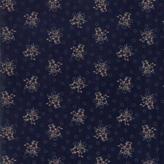 Tissu patchwork bouquets fond indigo - Hickory Road de Jo Morton