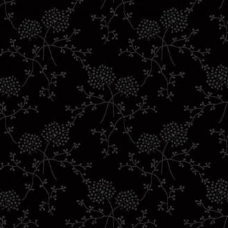 Tissu patchwork fleurs pompoms en ton-sur-ton noir