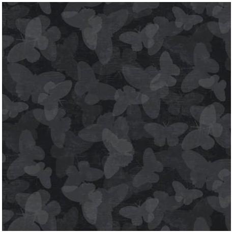 Tissu patchwork papillons ton-sur-ton noir